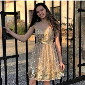 Gold Sequin Special Occasion Party Prom Dress